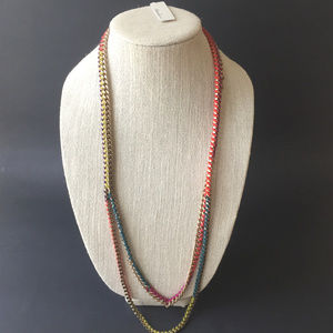 NWT Kenneth Cole Woven Yarn Long Chain Necklace
